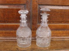 A pair of 19th Century Masonic glass decanters, with hob-nail and split decoration, triple ring