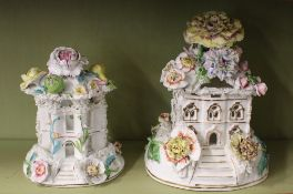 A 19th Century Coalport pastille burner, of cottage form, having detachable roof with floral