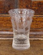 A Masonic etched glass tumbler, of waisted form, 10.5cm high