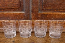 "Four Masonic etched glass tumblers, all decorated with symbols and initialed ""G"""