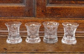Four Masonic etched glass tumblers, of waisted form, 7cm high
