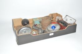 A box containing assorted Vintage car and cycle pa