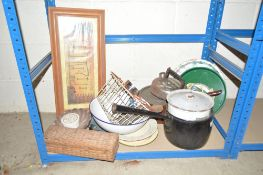 A quantity of various enamel and other kitchenalia