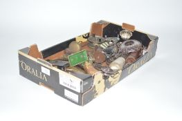 A box of miscellaneous items to include an Antique c