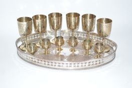 An electro plated oval gallery drinks tray and two