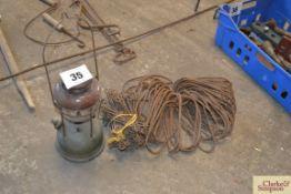 Measuring chains, oil lamp, metal hurdle loops for wooden hurdles. NO VAT.