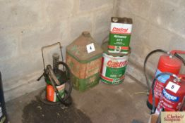 Various Castrol oils cans