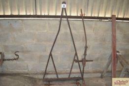 Metal drawbar and early plough subsoiler leg.
