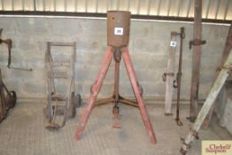 Spratts Patent Ltd, London Michaelmas goose force feeder on wooden tripod legs with two handles