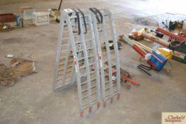 Pair of aluminium folding ramps.