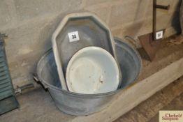Galvanised bath etc.