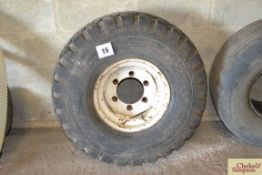 12.5/80-15.3 trailer wheel and tyre with 6 stud centre.