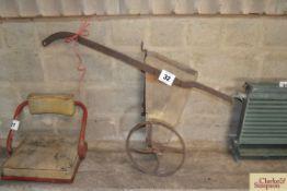 Bean drill for horse plough. NO VAT.