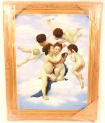 Almardo Beccari, study of cherubs, signed oil on c