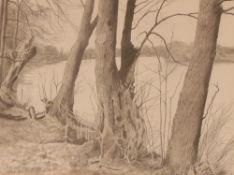 "Paul Oppenheim, ""The Thames Near Henley"" pencil an"