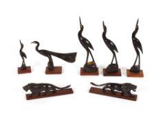 Seven various horn animal figures