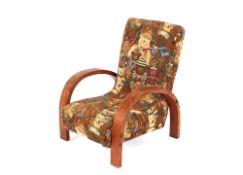 An Art Deco child's deep seated chair, with Teddy