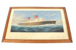"""A coloured print """"RMS Queen Elizabeth Cunard White Star"""""""