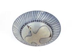 A Studio pottery bowl, decorated with a dove