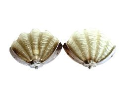 A pair of chrome and frosted glass shell shaped Ar