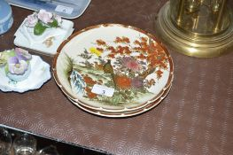 Two Japanese Kutani plates, each decorated with ex