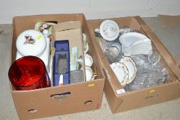 Two boxes of various glass and china