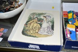 A tray of French fashion prints