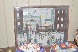 A wool work embroidery after L.S.Lowry