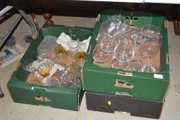 Three boxes of drinking glasses