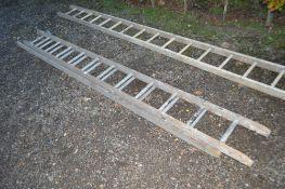 A wooden extending ladder