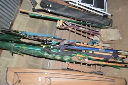 A large quantity of various fishing rods