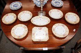 A Copeland Spode dessert set, comprising eleven plates, and four serving dishes