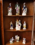 A collection of various Victorian Staffordshire and other figures (some damage)