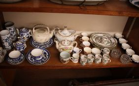 A quantity of miscellaneous porcelain, to include an early 19th Century monochrome transfer