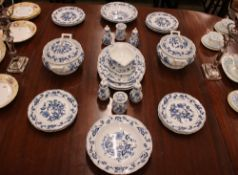 """A quantity of """"Blue Danube"""" Meissen pattern dinnerware, comprising meat plates, dinner plates,"""