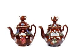 """Two large 19th Century bargeware teapots, inscribed """"Home Sweet Home"""" and """"Margaret Tremmbelling and"""