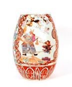 A large 19th Century Chinese floor vase, decorated warriors and foliage, reduced in height and AF