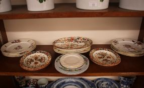Six Coalport floral decorated plates, having painted foliate sprays and moulded floral decoration,