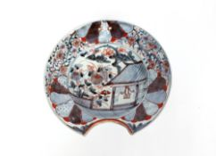An Imari pattern barbers or bleeding bowl, 27cm dia. overall