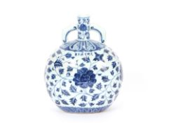 A Chinese porcelain Ming style blue and white twin handled Pilgrim flask, having six character