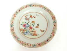 An 18th Century Chinese famille rose dish, with fighting cock decoration, 35cm dia.