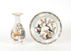 An 18th Century Chinese plate decorated birds and foliage; and a late 19th Century Chinese vase