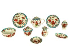 A collection of First Period Worcester tea ware of Jabberwocky pattern, comprising teapot, covered