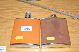 Two hip flasks