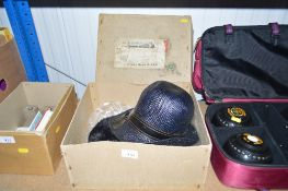 A hat box and contents of two lady's hats