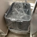 12 x plastic trays (6 dark grey and 6 li
