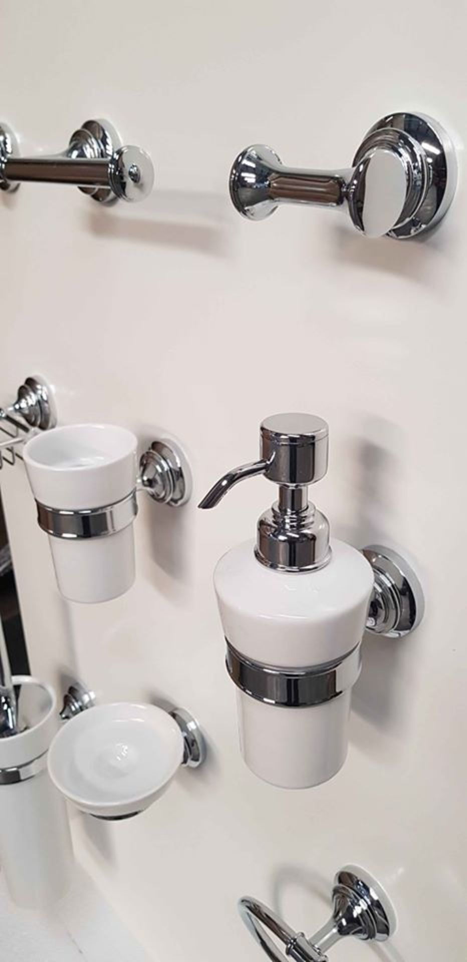 Lot 13 - Transition 12 Piece, very high quality, bathroom accessory set in polished chrome & ceramic finish.