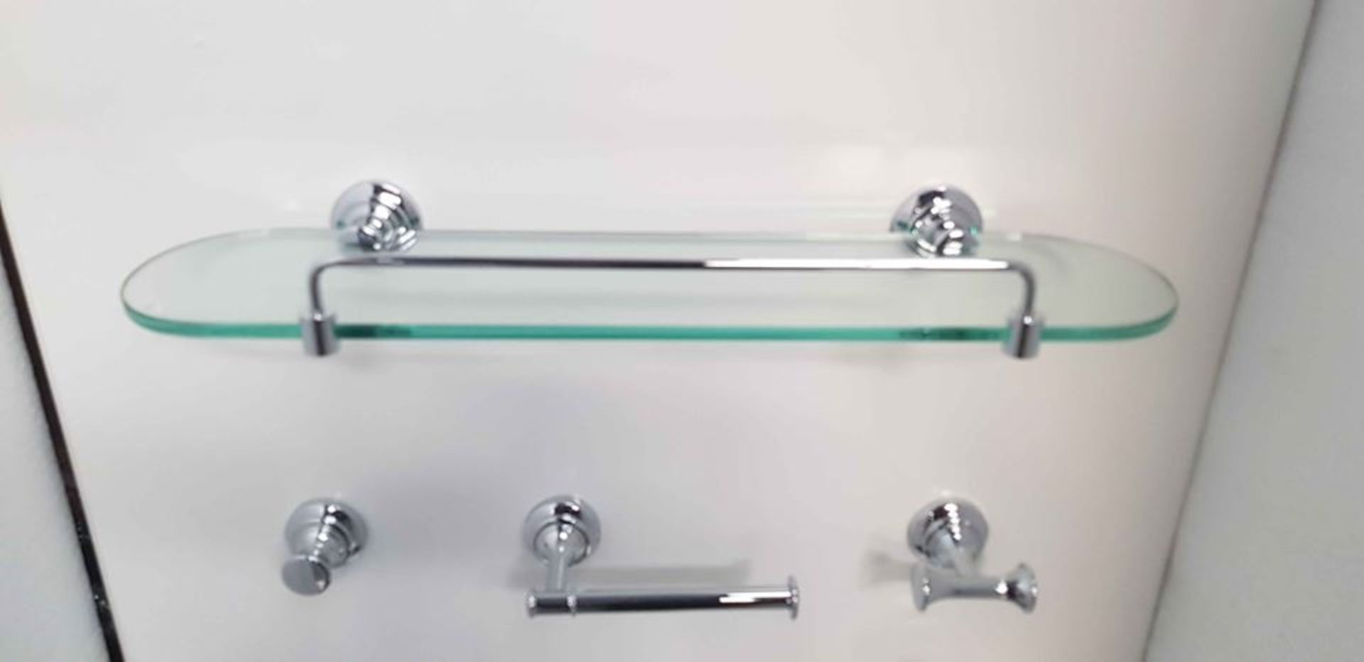 Lot 14 - Transition 12 Piece, very high quality, bathroom accessory set in polished chrome & ceramic finish.