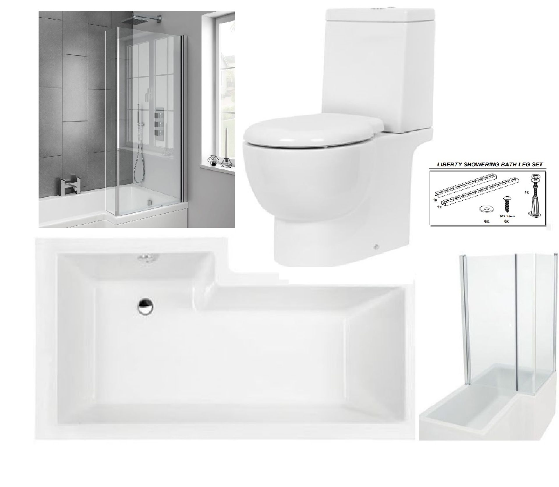 Lot 1E - Bathstore 'Liberty Showercube' RIGHT HANDED 1700mm re-enforced 'L' shower bath with pivot front
