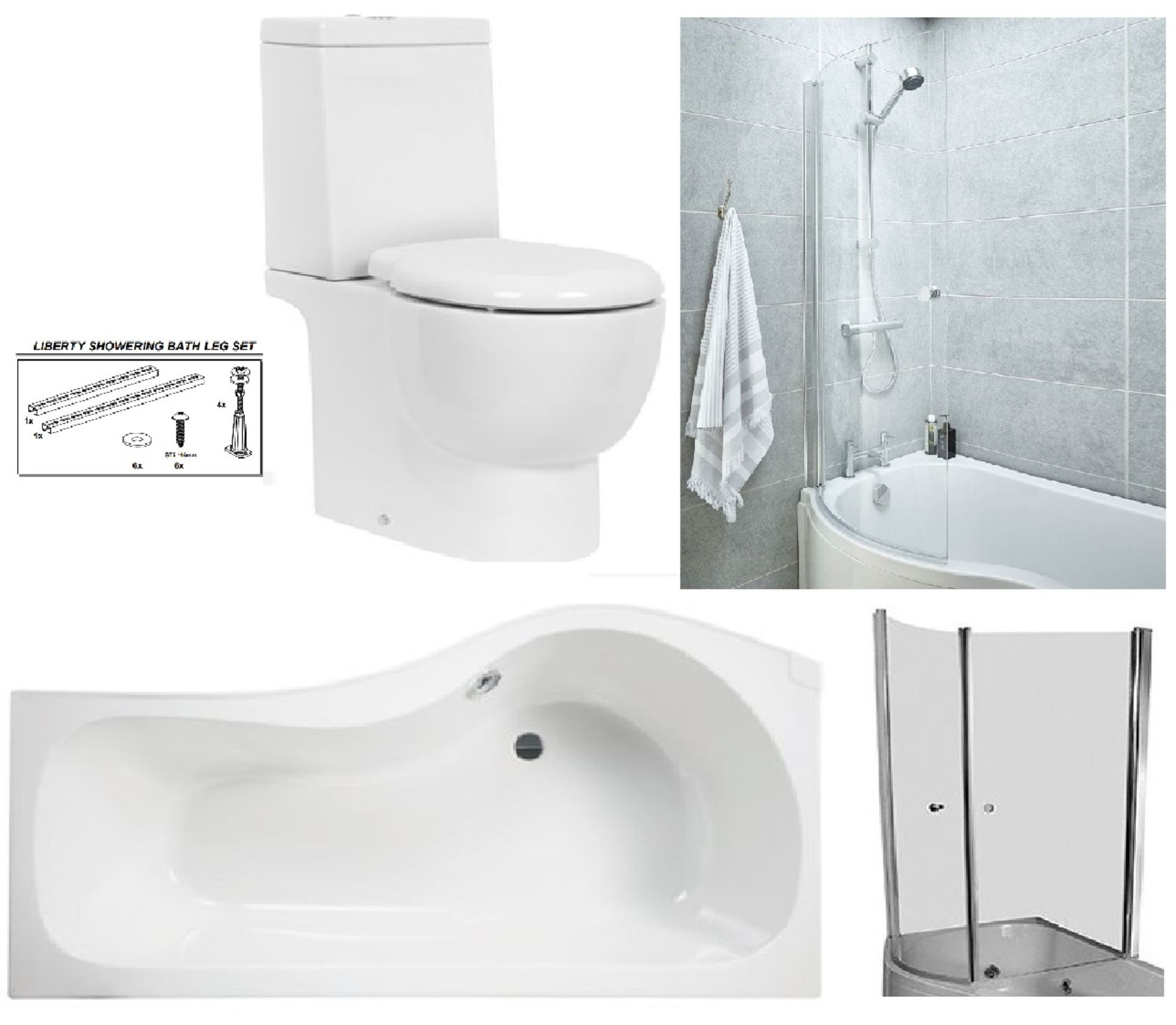 Lot 3 - Bathstore 'Liberty' LEFT HANDED 1500mm re-enforced 'P' shower bath with curved pivot front bath